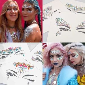 3x Rhinestone Face Stickers for Festival or Rave